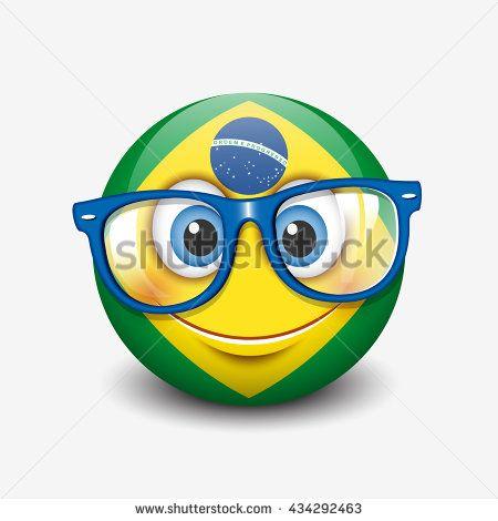 Cute Smiling Emoticon Wearing Eyeglasses Emoji Smiley With Brazil Flag Vector Illustration With Images Emoticon Vector Flag Vector