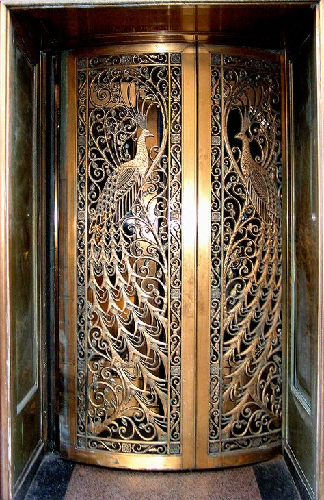 Art Nouveau Peacock Door - Door to the former C. Peacock jewelry store on State Street at Monroe in Downtown Chicago, Illinois.