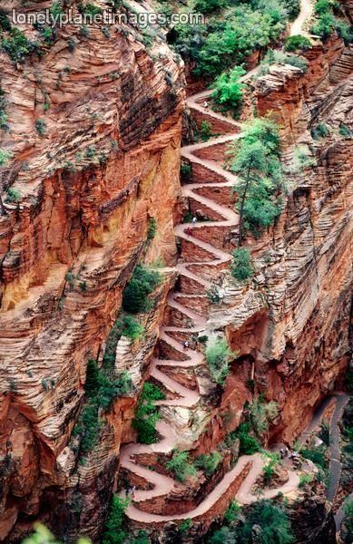Walter's Wiggles on approach to Angel's Landing in Zion National Park, Utah. Angel's Landing is a tough hike with some seriously scary precipices where it's just you and a chain and the 1400 foot drop hanging out. Best trail in Zion by far Places Around The World, The Places Youll Go, Places To See, Around The Worlds, Beau Site, Parc National, Zion National Parks, National Forest, All Nature