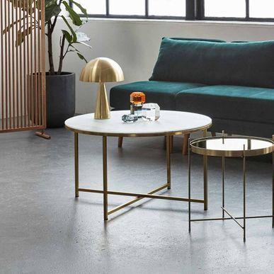 Table Basse En Metal Et Verre Imitation Marbre Hubsch Table Basse Style Table Basse Table Basse Marbre Blanc