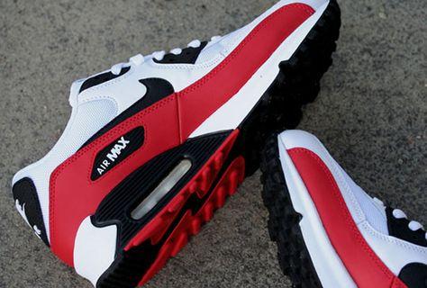 brand new 82781 c6503 Street Giant » Nike Air Max 90  White Sport Red-Black