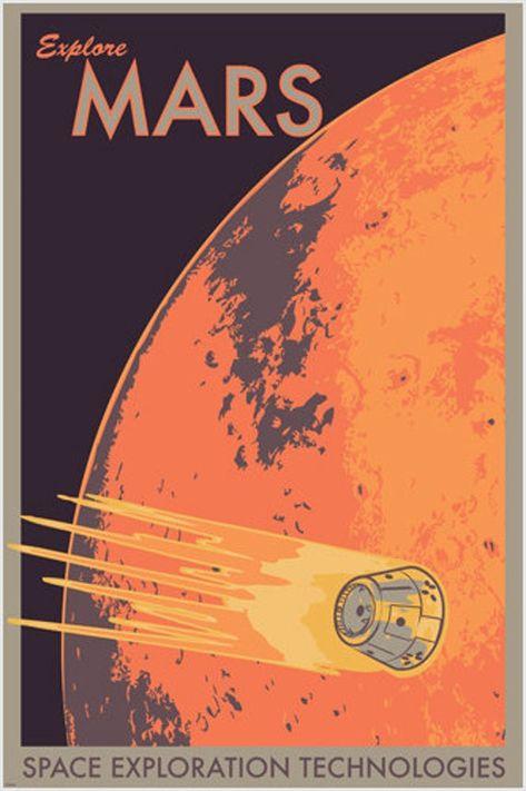 Explore Mars Retro Classic Planet Outer Space Gem Art Silk Cloth Poster Home Wall Decor Posters Decor, Cool Posters, Travel Posters, Space Posters, Movie Posters, Poster S, Poster Prints, Poster Wall, Art Print