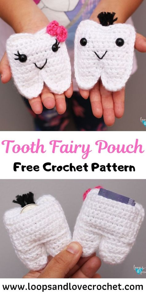 Crochet Tooth Fairy Pouch - knitting is as easy as 3 knitting is . - Crochet Tooth Fairy Pouch – knitting is as easy as 3 Knitting boils down to three essential - Crochet Gratis, Crochet Amigurumi, Crochet Toys, Knit Crochet, Booties Crochet, Tapestry Crochet, Knitted Dolls, Baby Booties, Crochet Simple