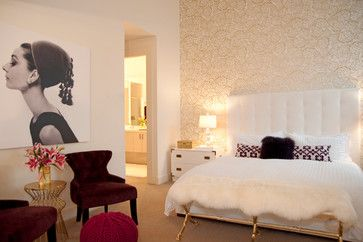 Judith Balis Interiors: Gold And White, Petal Pusher Wallpaper, Oh Joy  Studio, Purple, Teenage Girls Room, Glamorous, Lucite Lamp, Fur, Upholstereu2026