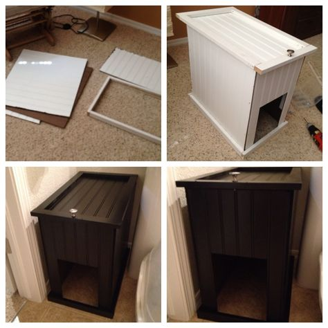 Litter box cover. Bead board and wall trim. $35 at Lowe's.  The link doesn't work, but you can make this according to your own dimensions.