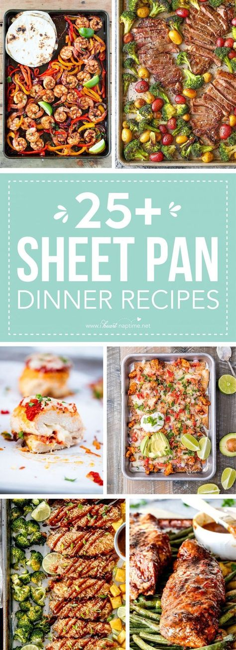 25 Delicious Sheet Pan Dinner Recipes that will make dinnertime a dream with easy prep work and less dishes! #sheetpan #dinners #chicken #sausage #healthy #lowcarb #easymeals #iheartnaptime