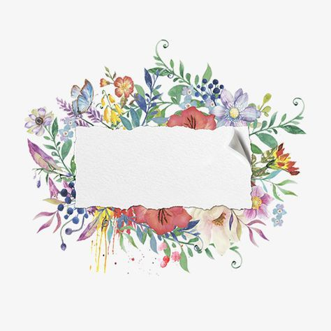 Painted Watercolor Floral Frame Material Png Free Download