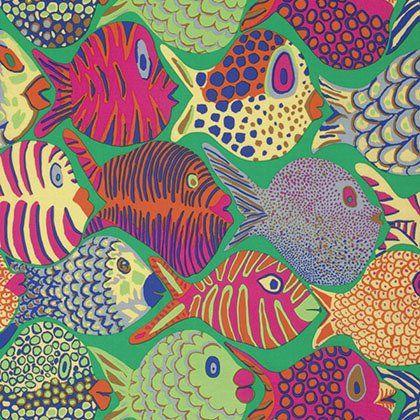 Fish Fabric By Half Yard Ocean Cotton Kaffe Fassett Collective