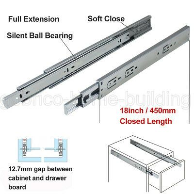 "1 Pair Ball Bearing Full Extension Soft Close Drawer Slides 12/"" 14/"""