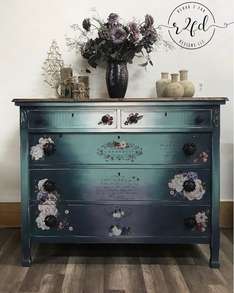used Wise Owl Paint in Higgins Lake, Abyss, Black Cherry, and Snow Owl to create this gorgeous finish! Refurbished Furniture, Furniture Makeover, Painted Furniture, Repurposed Furniture, Wassily Kandinsky, Furniture Making, Diy Furniture, Upcycled Furniture Before And After, Vintage Dressers