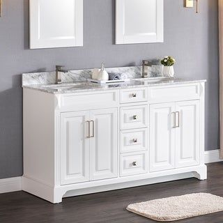 Luende 60 Inch Wood Double Sink Bathroom Vanity Set With Carrara Marble Top White Without Mirror Luende Collection In 2020 Vanity Set Vanity Bathroom Sink Vanity