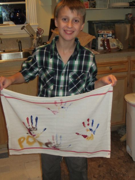 Grandson made bar towels for each of his uncles, grandads and dad.