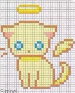 Gold Angel Cat Pixel Drawing Minecraft Pixel Art Pixel Art