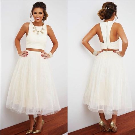 Cream 2 Piece Dress Crop top with a full zipper and padded lining. Skirt is high waisted and tulle. Minuet Dresses