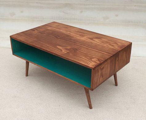 solid walnut low mid-century modern coffee table, walnut. $650.00