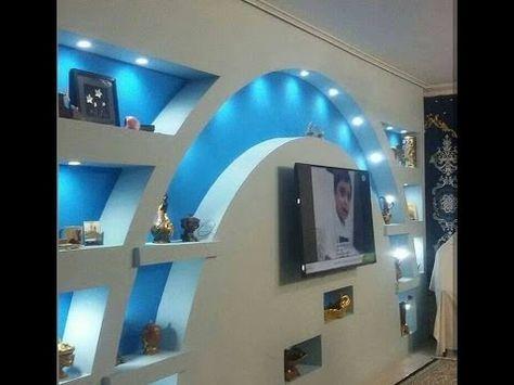 ديكورات جبس بورد 2017 2 شاشات Lcd Youtube False Ceiling False Ceiling Living Room Lcd Wall Design