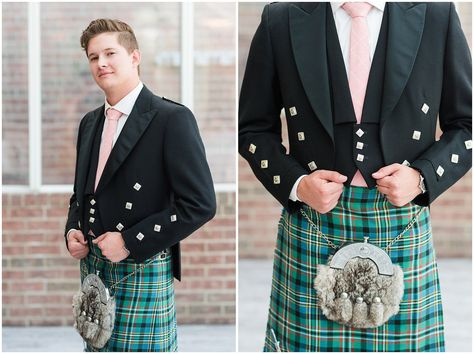 Groom wearing highland attire with tartan and kilt | Talia Event Center Summer Wedding | Jessie and Dallin Photography #utahwedding #utahweddings #utahweddingvenue #talia #ldswedding #ldstemplewedding #utahbride #utahbrideandgroom #floralinspiration #floralarch #utahweddingvendors #summerwedding #ldsbride