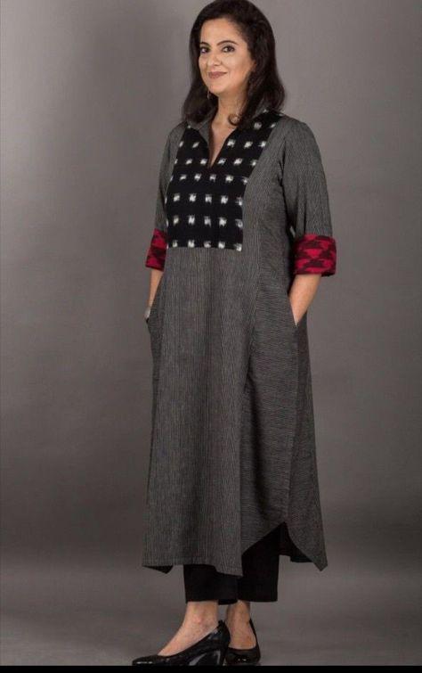 Cotton -Linen kurti. Simple and Sober #latestwomenswear