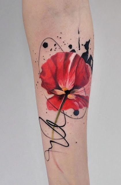 Abstract Watercolour Jemka Tattoo Red Poppy Poppies Tora Sumi