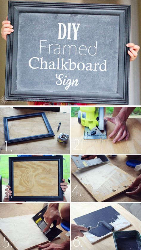 DIY Framed Chalkboard Sign  I think it would be cute to make a big one and put it on our front porch like a welcome sign and change it for holidays
