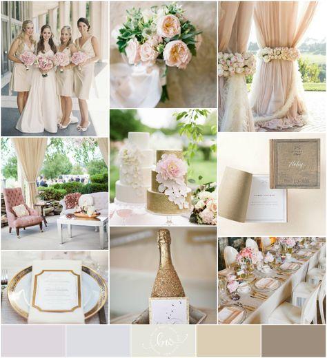 Gold, ivory, champagne, blush pink, chocolate wedding palette {reader request}