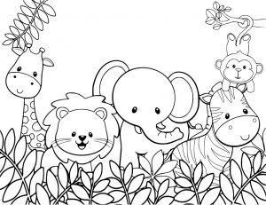 Baby Safari Animals Coloring Page Zoo Animal Coloring Pages Jungle Coloring Pages Cute Coloring Pages