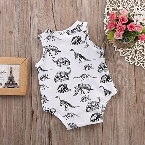 Love Dinosaurs Newborn Infant Baby Summer Sleeveless Bodysuit Romper Jumpsuits Playsuit