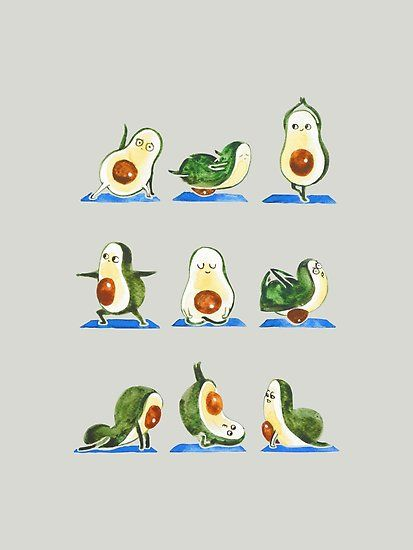 Avocado Yoga Watercolor Poster By Huebucket Avocado Art Yoga Art Aesthetic Iphone Wallpaper