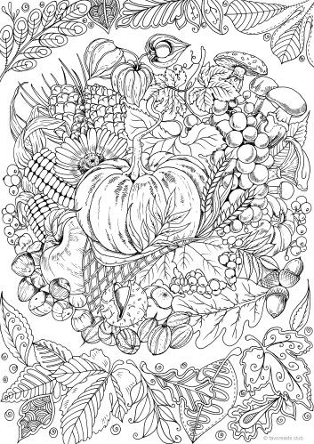 Pumpkins And Sunflower Digital Coloring Page Fall Adult Coloring