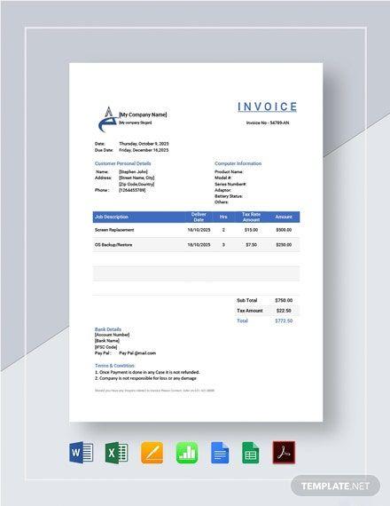 Computer Repair Invoice Template Invoice Template Invoice Design Template Invoice Design