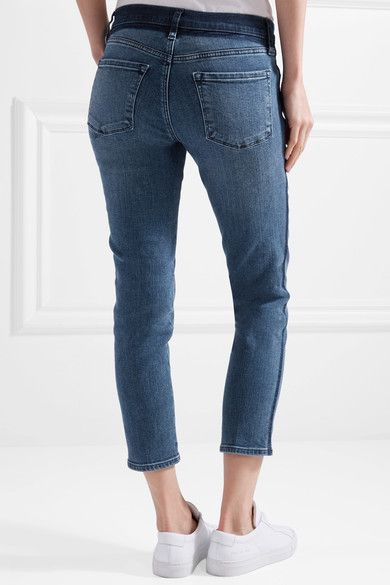 J Brand Sadey Cropped Mid-rise Slim-leg Jeans - Dark denim   Slim legs,  Point blank and Products