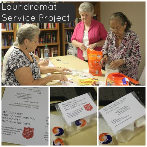 Service project for families using coin operated (laundromat) laundry facilities.  Easy way to spread love in your neighborhood!  Laundry Service Project Random Acts of Kindness