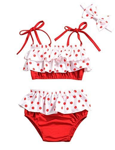 Baby Girl Swimsuit Ruffle Red Dot Top And Bikinis Skirt Headband 2 Piece Swimwear 6 12 Months Baby Girl Swimsuit Girls Swimsuit Ruffle Swimsuit