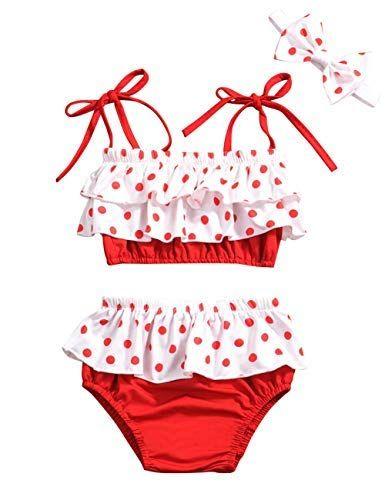 Baby Girl Swimsuit Ruffle Red Dot Top And Bikinis Skirt Headband 2 Piece Swimwear 6 12 Months Baby Girl Swimsuit Girls Swimsuit Ruffle Swimsuit