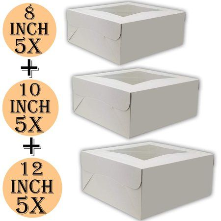 Cake Boxes 12 X 12 X 5 Cake Boxes 10 X 10 X 5 And Cake Boxes 8 X 8 X 4 Bakery Box Has Double Window Cake Supplies 5 Pack Of