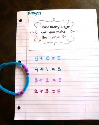 numbers 1-10.  The idea is to focus on one number and in your small group give everyone a number bracelet for that targeted number. (so you make 4-6 identical bracelets for each number 1-10)  The students can manipulate the beads on the bracelet