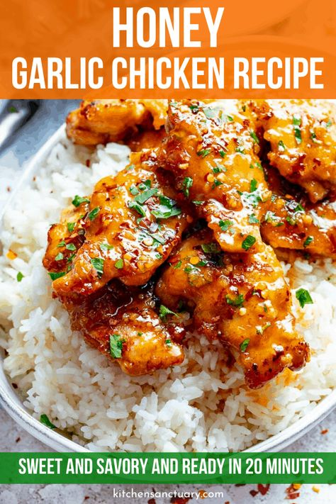 Sticky tender boneless chicken thighs in a garlic, soy and honey sauce. Minimal ingredients, simple to prepare and ready in 20 minutes! Garlic Chicken Recipes, Healthy Chicken Recipes, Meat Recipes, Asian Recipes, Cooking Recipes, Baked Chicken, Recipe Chicken, Honey Garlic Chicken Thighs, Boneless Chicken Thighs