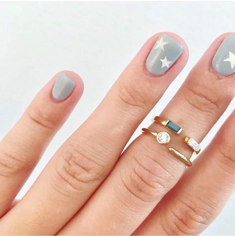 gold midi rings, perfect for stacking and wearing alone midirings 862509766122348641 Star Nails, Star Nail Art, Pin On, 14k Gold Ring, Midi Rings, Blue Nails, Natural Nails, Summer Nails, Winter Nails