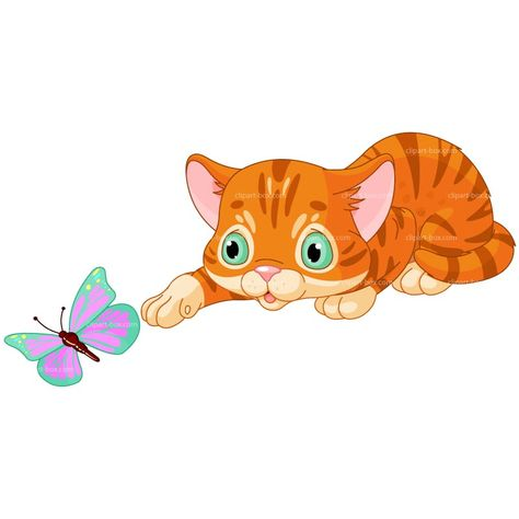 Clipart Kitten Playing With Butterfly Royalty Free Vector Design Animais Gatos