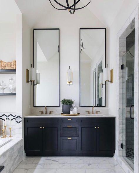 Where Strong Horizontal Lines Create A Sense Of Comfort Vertical Lines Embody Drama And Th Painted Vanity Bathroom Bathroom Interior Design Bathroom Interior