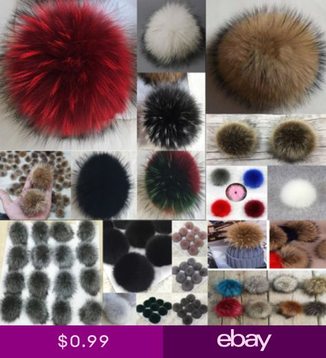 a5788a3508854 DIY Women Faux Raccoon Fur Pom Poms Ball for Knitting Beanie Hats  Accessories