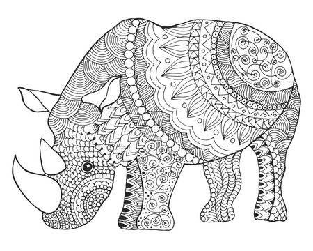 Nashorn Schwarz Weisse Hand Doodle Tier Gezogen Ethnische Gemusterten Vektor Illustration Afrikanisch Indisch Totem Tribal Design Skizze Fur Malvorlagen Tierzeichnung Mandala Tiere Ethnische Kunst