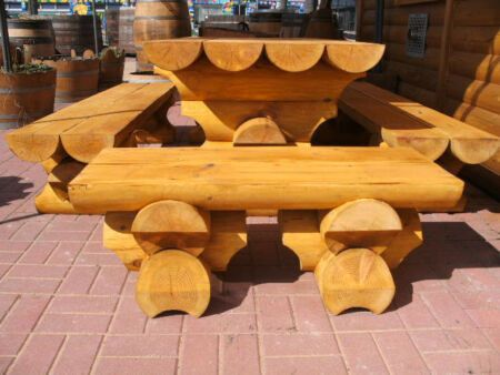 Details About 1m Round Bohlen Garden Set Table 2 Benches Without