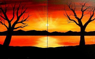 Beginner Sunset Drawings With Images Sunset Landscape Painting