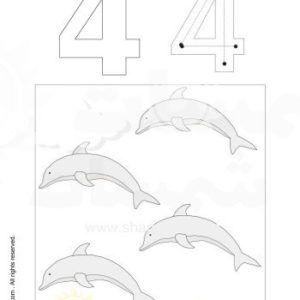 نشاطات التلوين وتعلم الارقام الرقم أربعة 2 Jpg Symbols Art