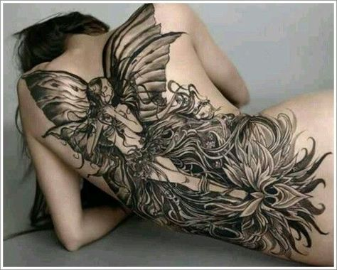 Full back fairy tattoo designs - The largest of the fairy tattoo designs on this list.