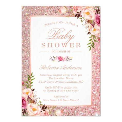 Rose Gold Glitter Pink Fl Baby Shower Invitation