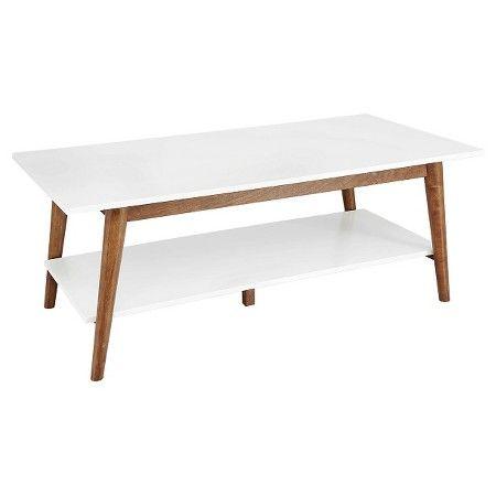 133 Porter Mid Century Modern Two Tone Coffee Table White Brown