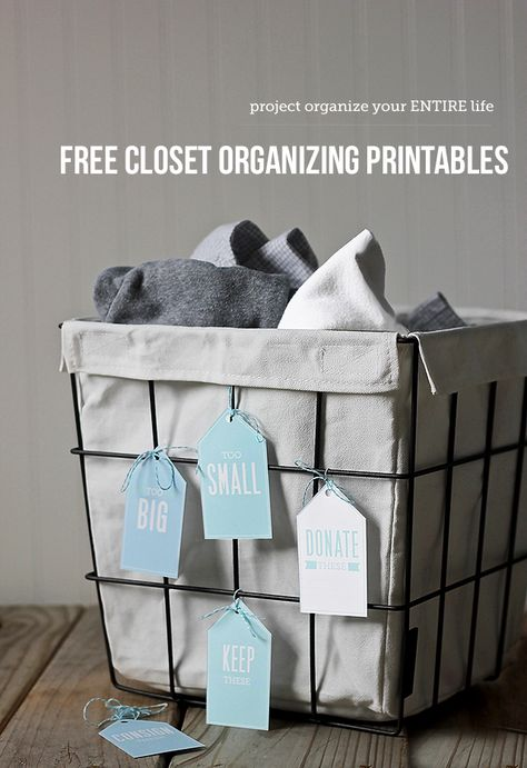 """Free printables: clothing orgainzation labels - keeping the """"too big"""" and """"too small"""" baskets in each of my kids' closets and the donate/consign/keep in our laundry room for easy access."""