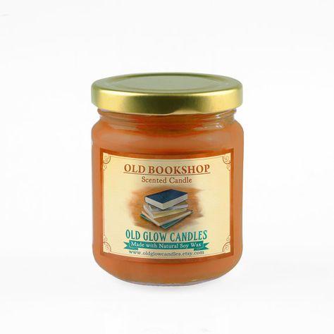 Alten Bookshop  Soja parfümierte Kerze von OldGlowCandles auf Etsy